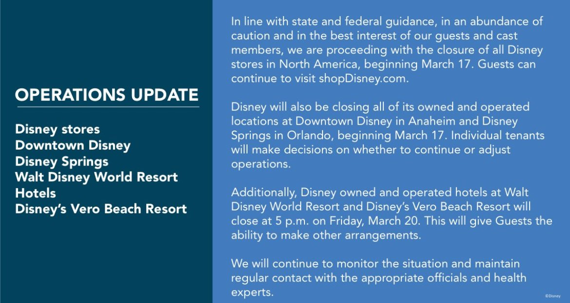 Update on Disneyland Resort Operations including remaining closures