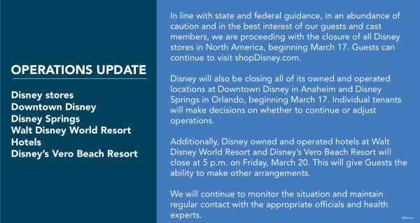 Update on Disneyland Resort Operations including remaining closures 1