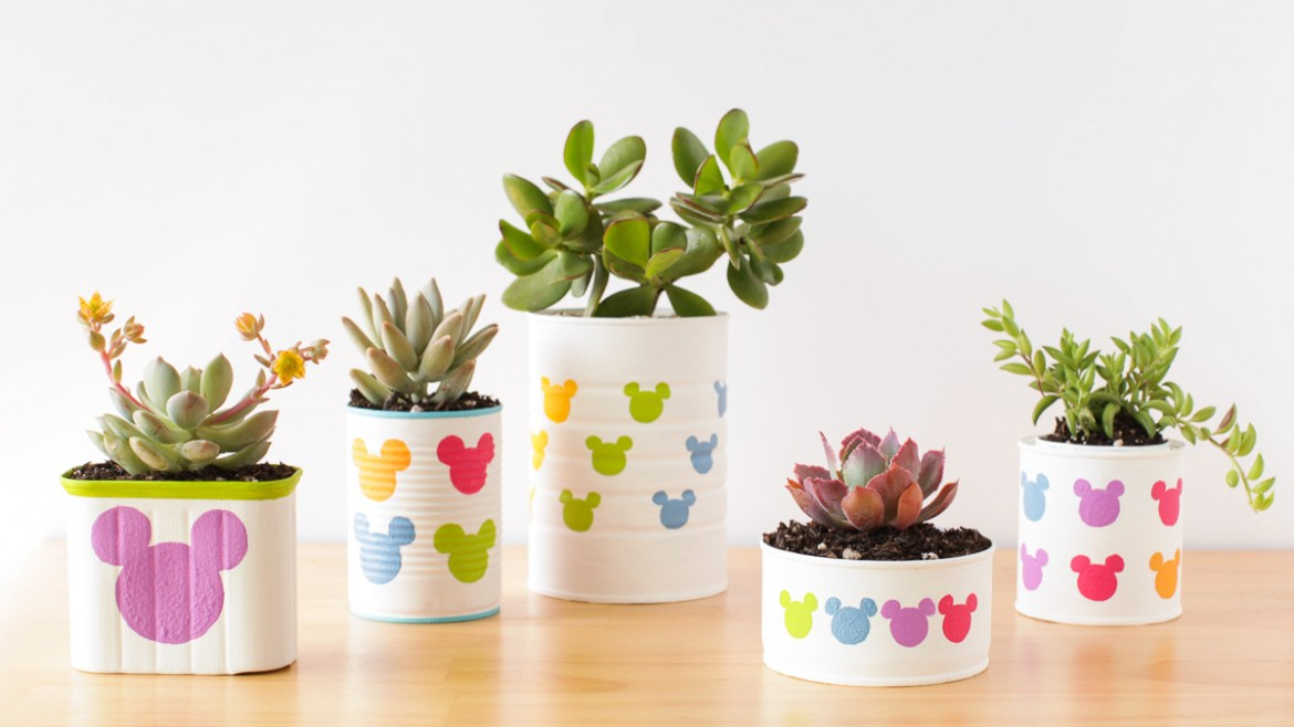Making MIckey Mouse Planters at Home