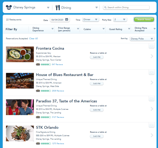 Disney Springs Advanced Dining Reservations Now Showing up on the Disney Website 1