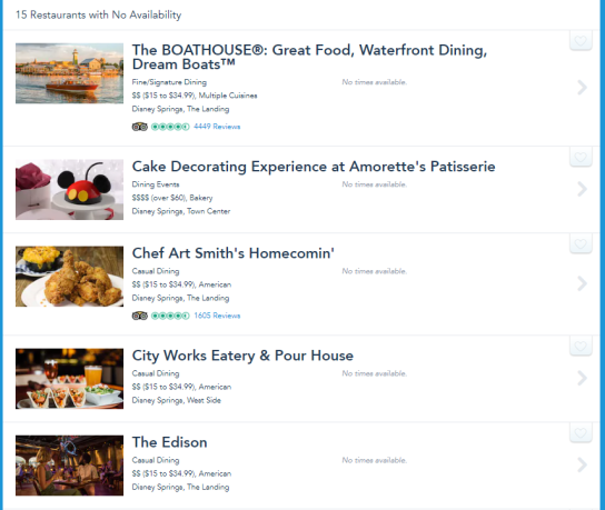 Disney Springs Advanced Dining Reservations Now Showing up on the Disney Website 2