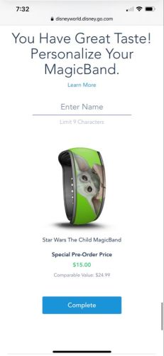 Baby Yoda Magicband now available for preorder on the Disney World website 1