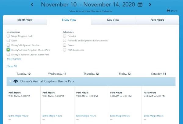 Disney World shows park hours through November 14h 5