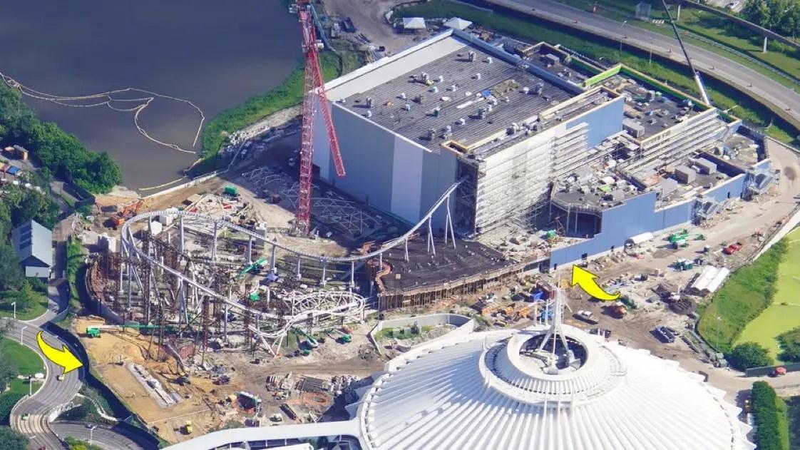 New aerial photos of the Tron Coaster Construction