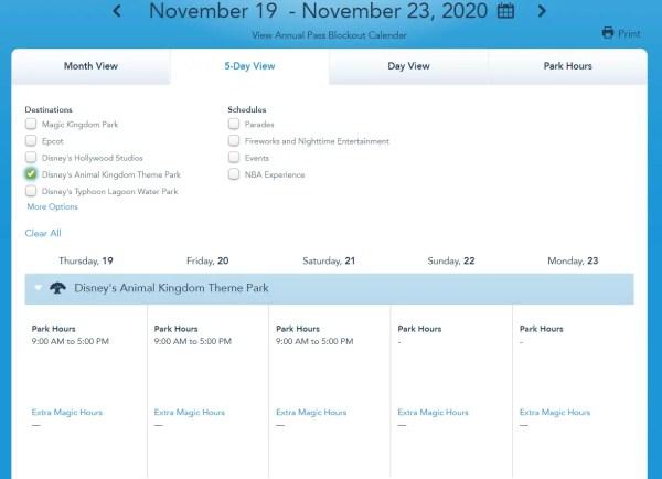 Disney World Releases park hours for mid November 2