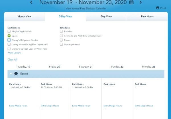 Disney World Releases park hours for mid November 4