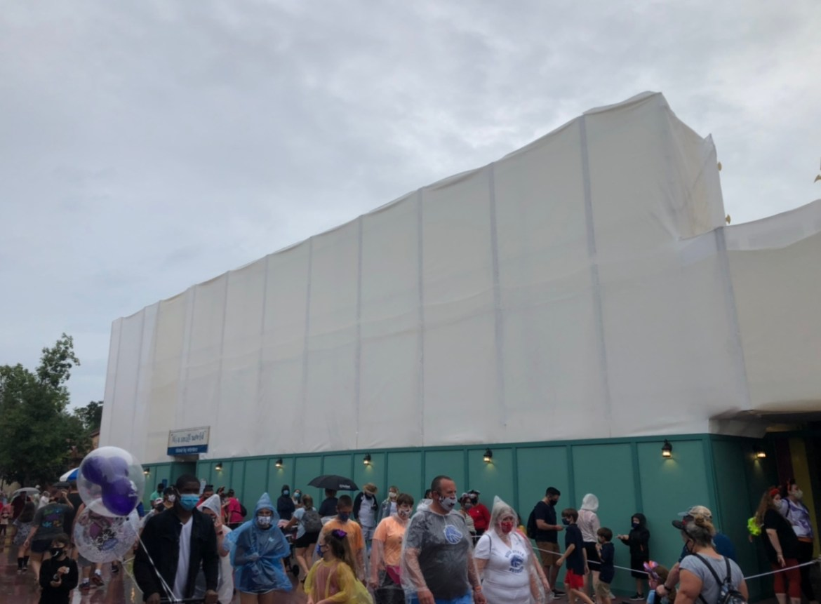 Construction Walls go up around It's A Small World in the Magic Kingdom