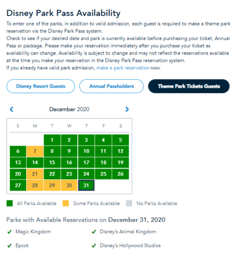 Still availability for New Years Eve Park Passes at Disney World 2