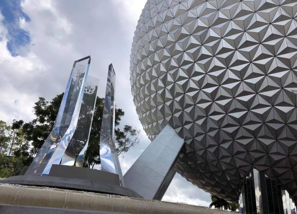 Closer look at the new Epcot Fountain & Pylons