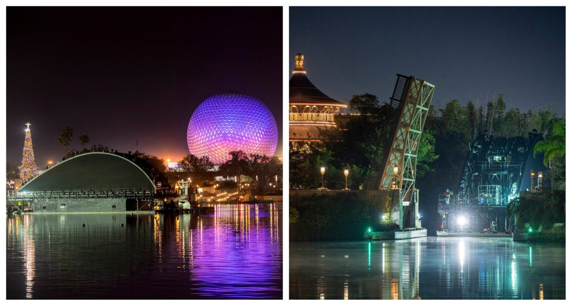 Floating Platforms for Harmonious moved into place in Epcot