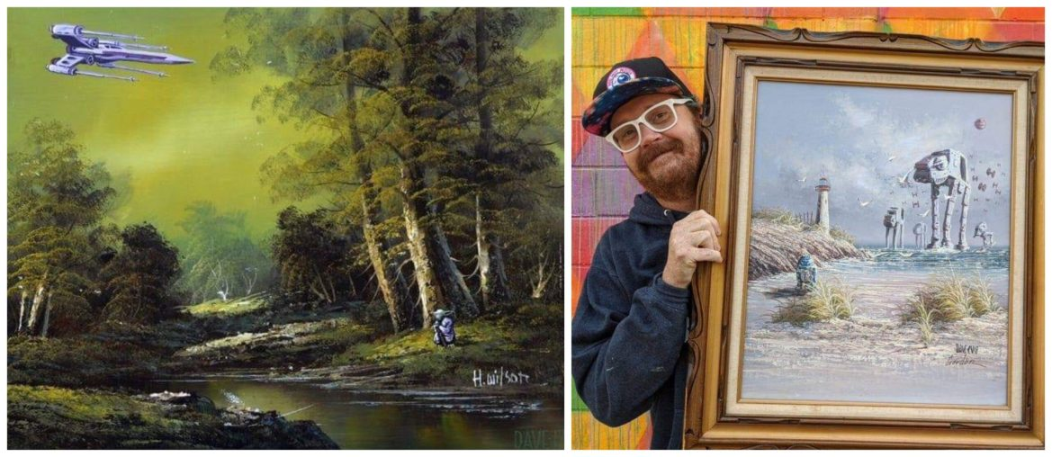 Ohio-Based Artist Adds Movie Characters to Discarded Landscape Paintings