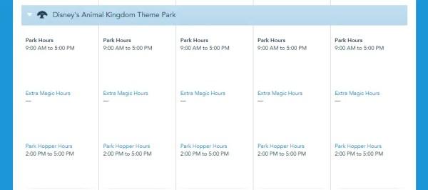 Park Hopper Hours now showing on Disney World Calendar 5