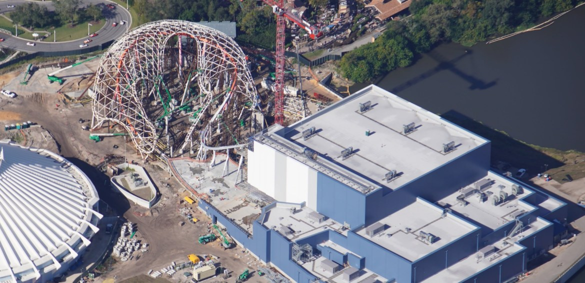 Aerial view of Tron Coaster construction at the Magic Kingdom!