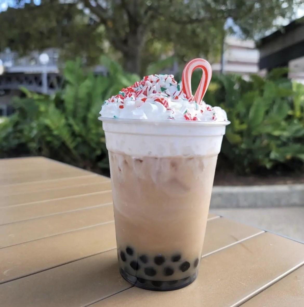 Holiday Peppermint Boba Tea at YeSake in Disney Springs!