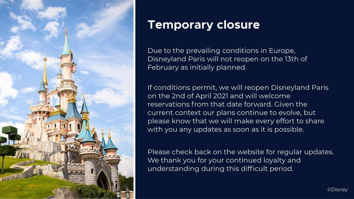 Disneyland Paris to remain closed till April 2nd, 2021