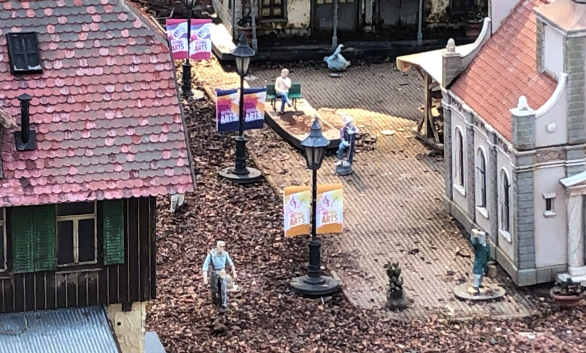 Epcot's Germany Pavilion Minature Train Village Decorated for Festival of the Arts