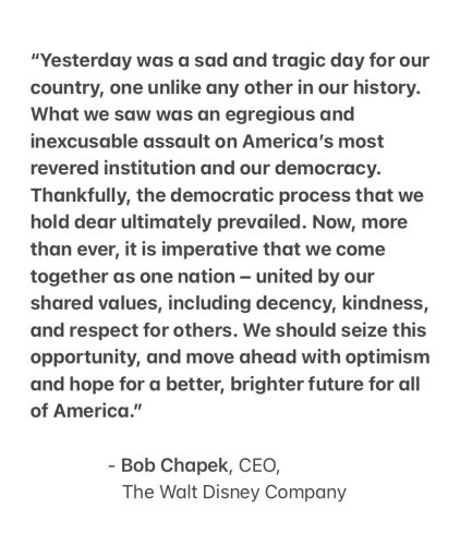 Disney's CEO Bob Chapek issues statement on the incident in the U.S. Capitol yesterday 2