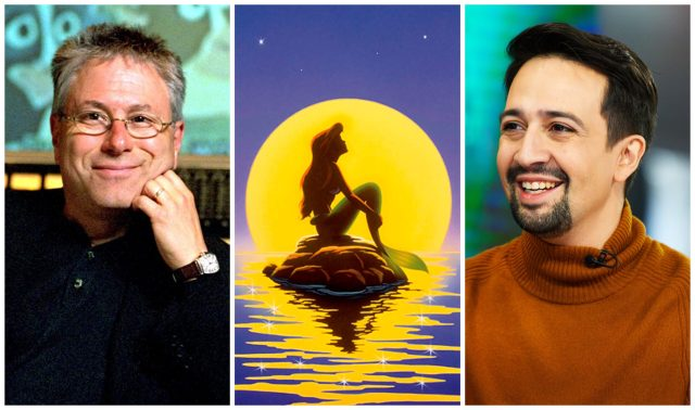 Alan Menken and Lin Manuel-Miranda with a poster of The Little Mermaid between them