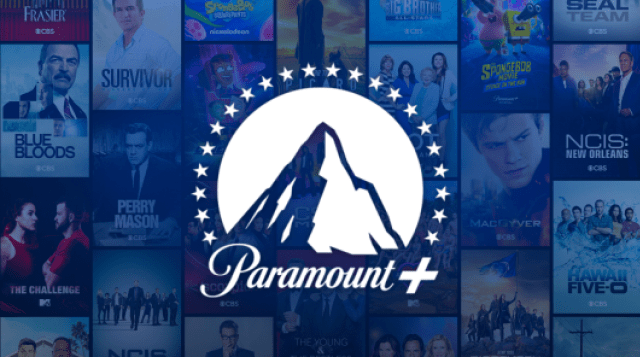 Paramount+ Logo over movies and television posters