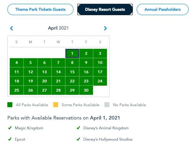 Disney Park Passes have been refilled for Spring Break 2