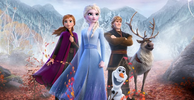 Anna, Elsa, Kristoff, Sven, and Olaf in Frozen 2