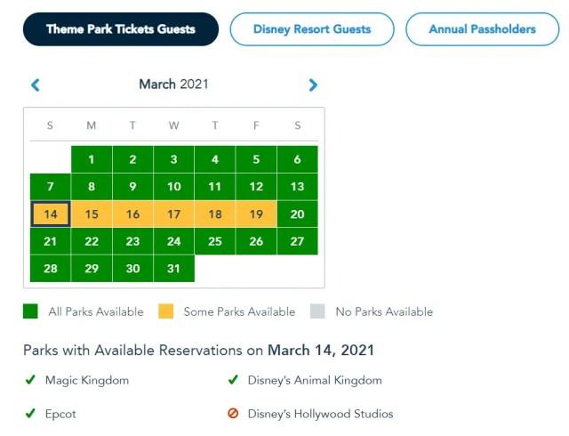 Disney Park Passes have been refilled for Spring Break 1