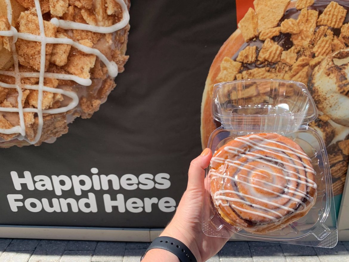 All new Cinnamon Roll donut now glazing at Everglazed Donuts in Disney Springs