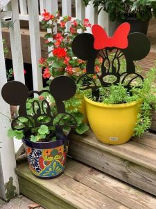 Mickey and Minnie garden stakes