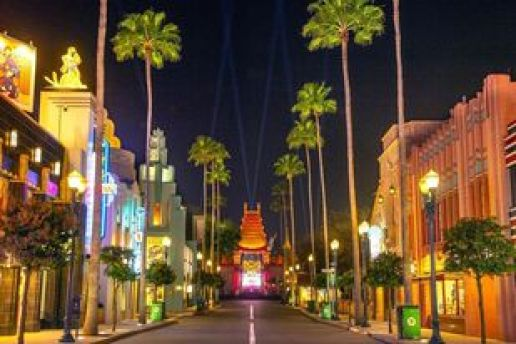 Hollywood Studios at night with the Chinese Theatre being the focus.