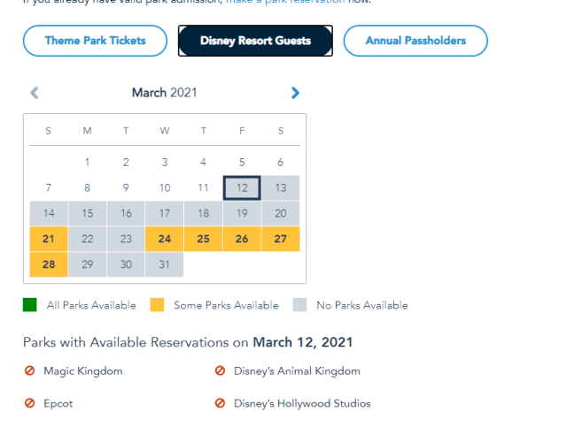 Disney World Theme Park Reservations completely booked through March 20th 3
