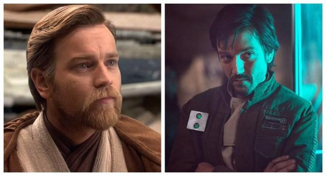 Ewan McGregor as Obi-Wan Kenobi and Diego Luna as Cassian Andor