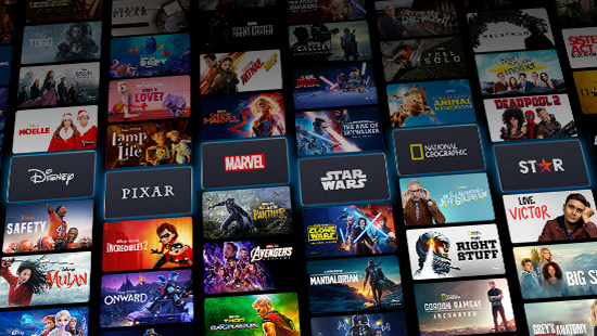 Disney+ and other platforms along with various movie titles and images