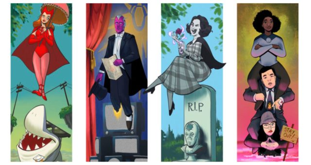 The Cast of WandaVision drawn as the paintings from The Haunted Mansion