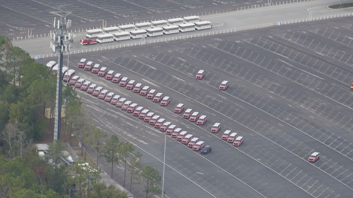 Aerial View of Parked Minnie Van Fleet Not in Service