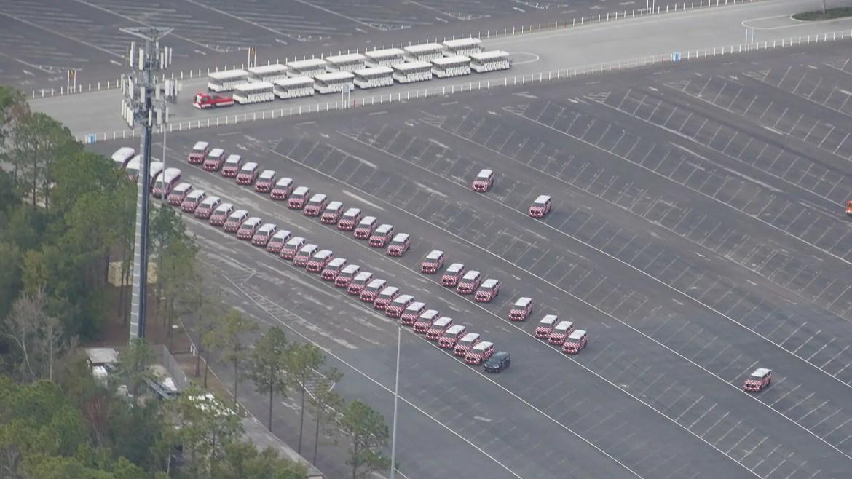 Aerial View of Parked Minnie Van Fleet Not in Service