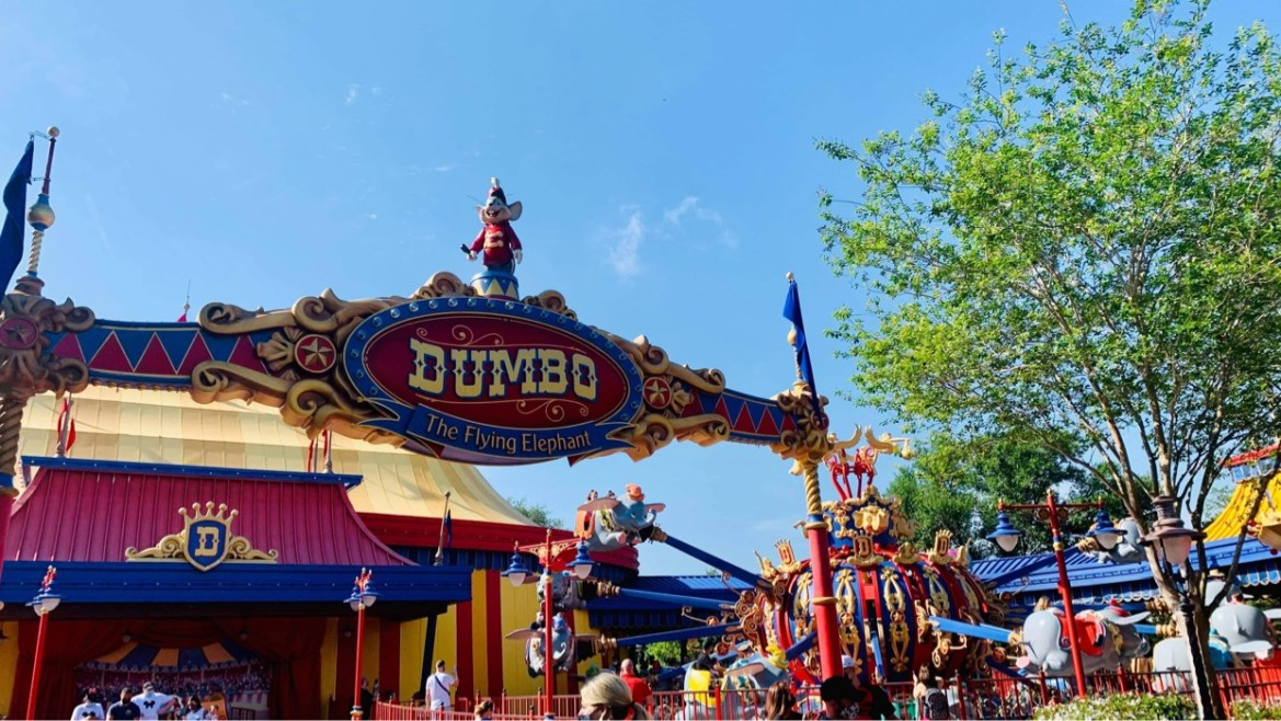 Dumbo being repainted for Disney World 50th Anniversary