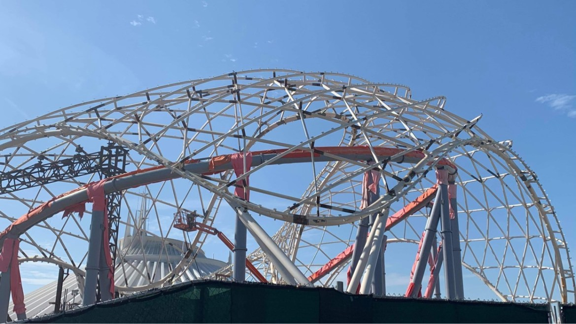 Work continues on Tron Lightcycle Run Construction