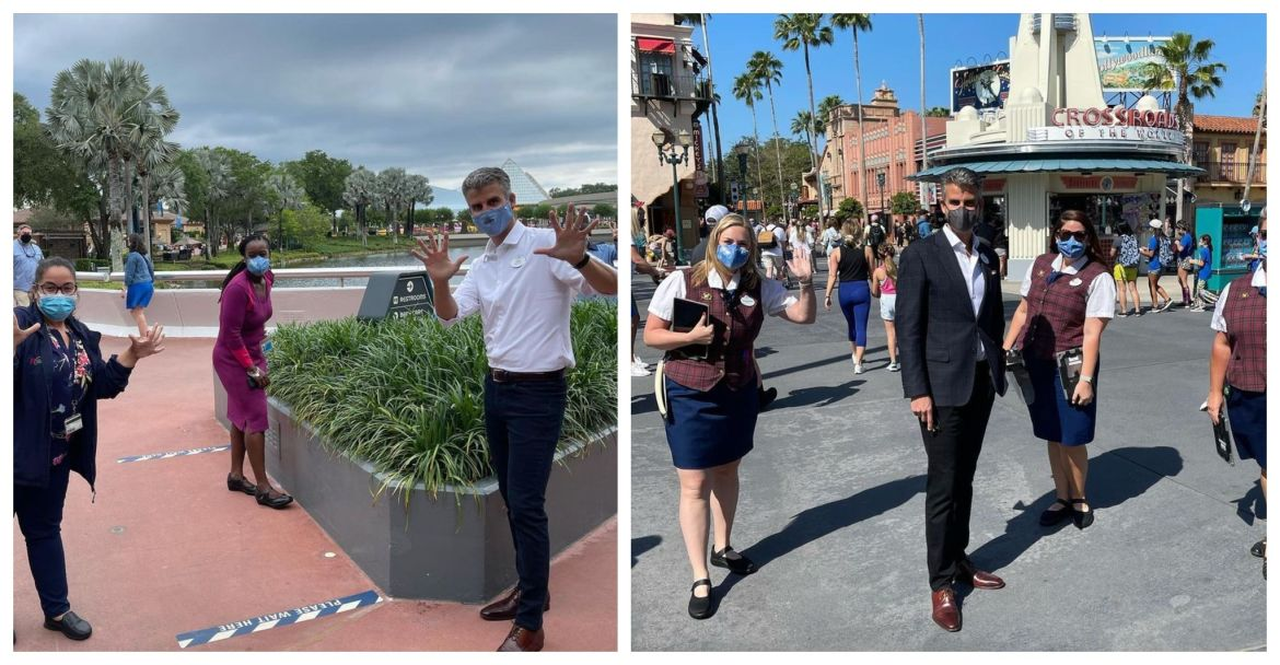Josh D'Amaro visits with Cast Members at Disney World