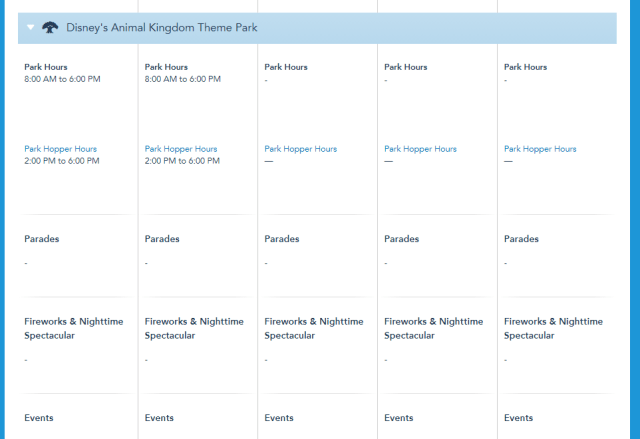 Disney World Theme Park hours released through July 17th 5