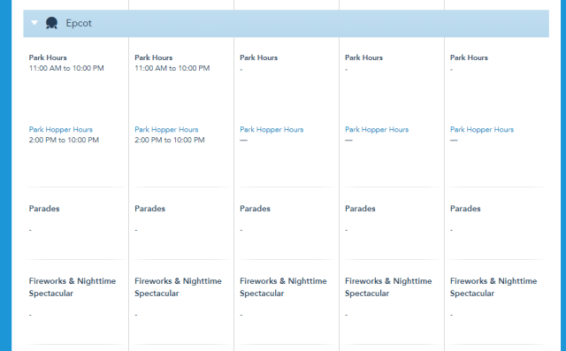 Disney World Theme Park hours released through July 17th 3