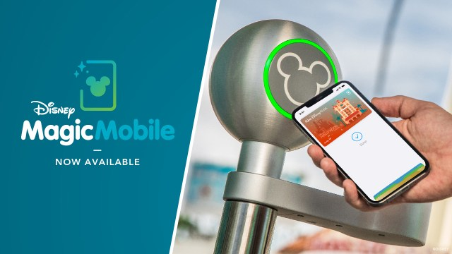 """Mobile phone held up to access points, on the left is the phrase """"Disney MagicMobile, Now Available"""""""