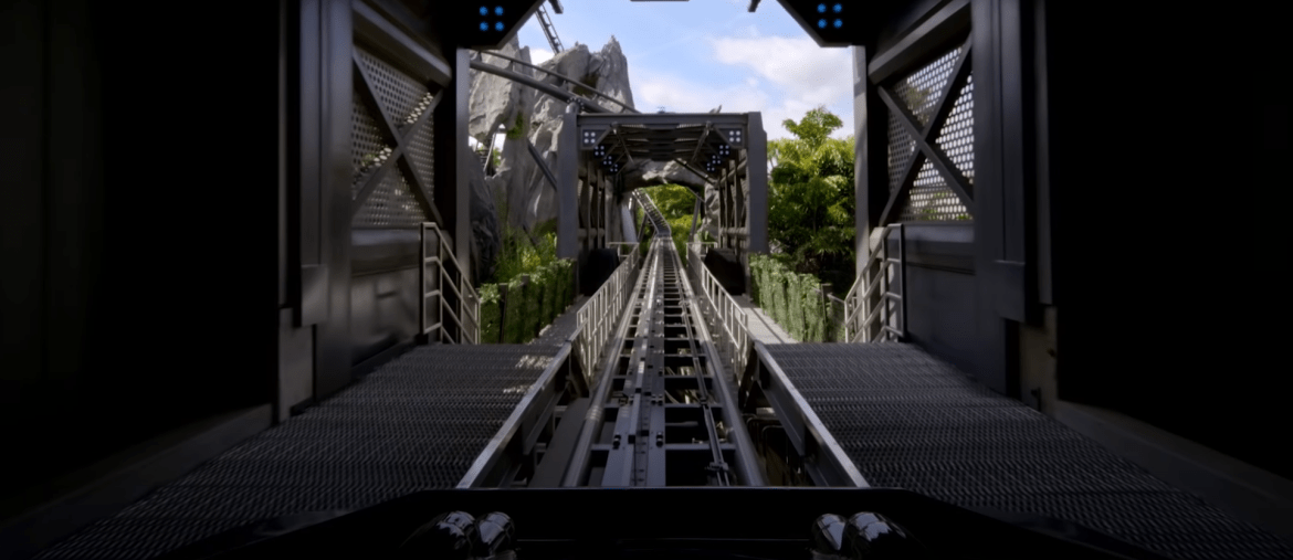 Take a front-row seat onboard the Jurassic World VelociCoaster