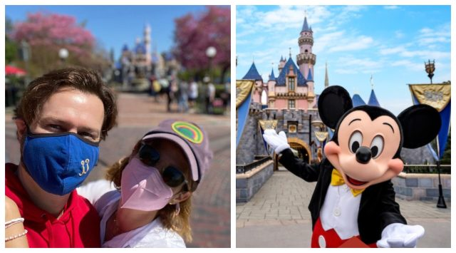 Taran Killam and Cobie Smulders (left) and Mickey Mouse in front of Sleeping Beauty Castle (right)