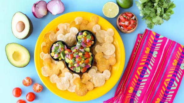 Mickey chips and guacamole