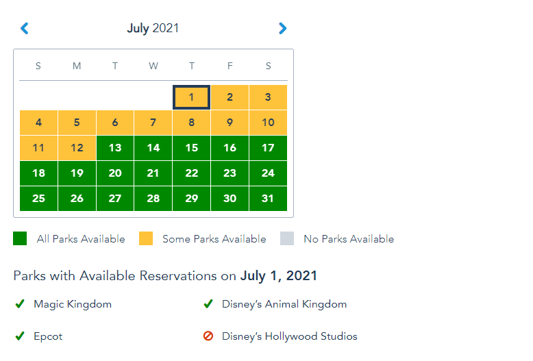 More Disney World Park Pass Reservations open up for July 1st! 3