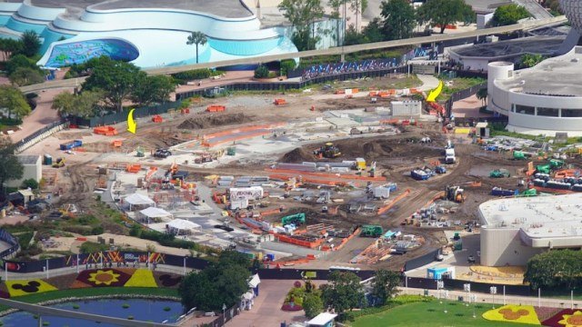 Aerial view of Moana Journey of Water Construction in Epcot 2