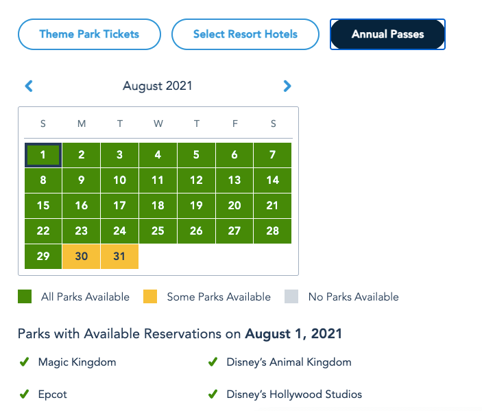More Disney World Park Pass Reservations opened for Summer 4
