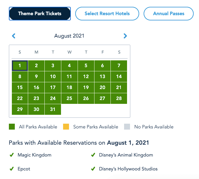 More Disney World Park Pass Reservations opened for Summer 2
