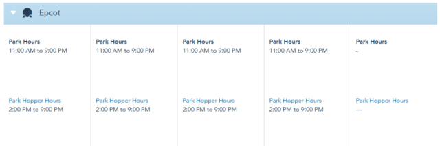 Disney World Theme Park Hours released through August 28th 2