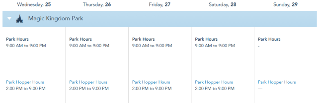 Disney World Theme Park Hours released through August 28th 1